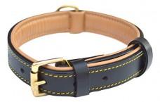 Luxury-Black-Leather-Padded-Dog-Collar-for-Medium-Dog-Breeds-with-Super-Soft-Inside-Leather-0
